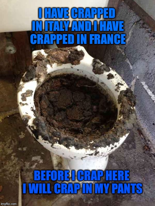 Oh Crap | I HAVE CRAPPED IN ITALY AND I HAVE CRAPPED IN FRANCE BEFORE I CRAP HERE I WILL CRAP IN MY PANTS | image tagged in toilet,poop,crap,nasty,memes | made w/ Imgflip meme maker