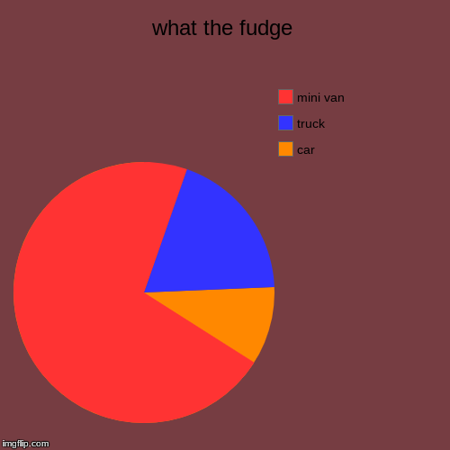 what the fudge | car, truck, mini van | image tagged in funny,pie charts | made w/ Imgflip pie chart maker