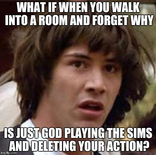 What if | WHAT IF WHEN YOU WALK INTO A ROOM AND FORGET WHY IS JUST GOD PLAYING THE SIMS AND DELETING YOUR ACTION? | image tagged in what if | made w/ Imgflip meme maker