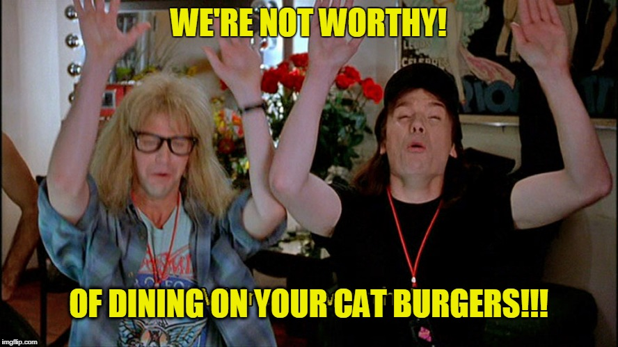 WE'RE NOT WORTHY! OF DINING ON YOUR CAT BURGERS!!! | made w/ Imgflip meme maker