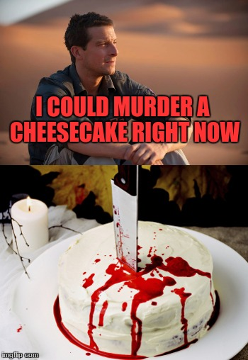 My favorite thing that Bear Grylls says. And he says it A LOT |  I COULD MURDER A CHEESECAKE RIGHT NOW | image tagged in bear grylls,cheesecake,murder | made w/ Imgflip meme maker
