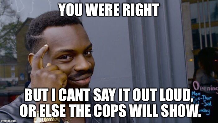 Roll Safe Think About It Meme | YOU WERE RIGHT BUT I CANT SAY IT OUT LOUD, OR ELSE THE COPS WILL SHOW. | image tagged in memes,roll safe think about it | made w/ Imgflip meme maker