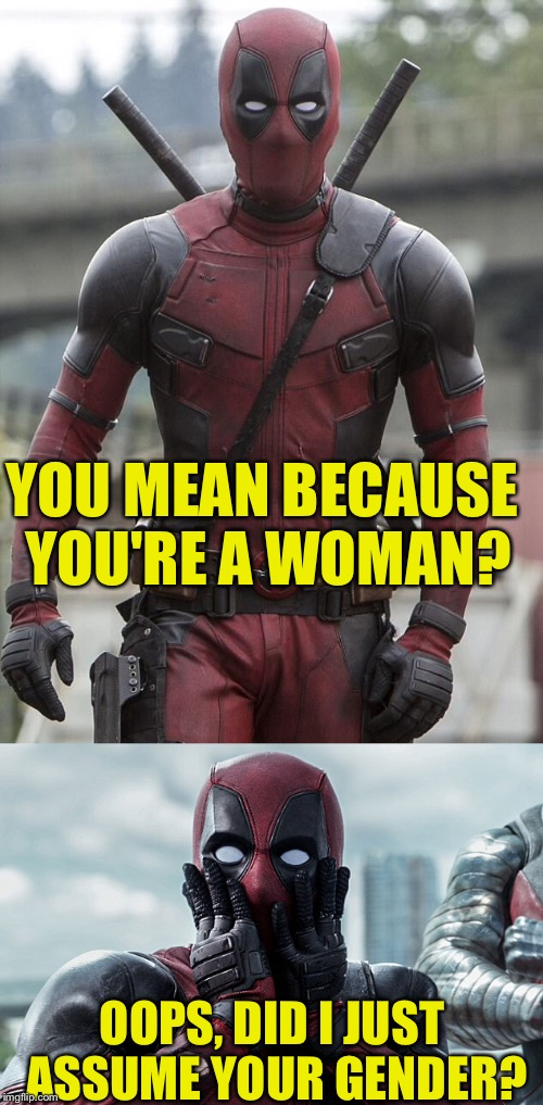 YOU MEAN BECAUSE YOU'RE A WOMAN? OOPS, DID I JUST ASSUME YOUR GENDER? | made w/ Imgflip meme maker