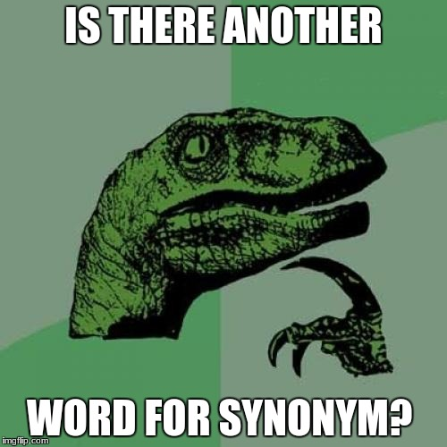 Philosoraptor Meme | IS THERE ANOTHER WORD FOR SYNONYM? | image tagged in memes,philosoraptor | made w/ Imgflip meme maker