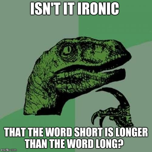 Philosoraptor Meme | ISN'T IT IRONIC THAT THE WORD SHORT IS LONGER THAN THE WORD LONG? | image tagged in memes,philosoraptor | made w/ Imgflip meme maker