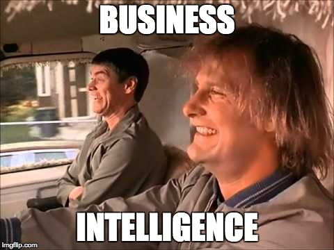 Dumb and Dumber | BUSINESS INTELLIGENCE | image tagged in dumb and dumber | made w/ Imgflip meme maker