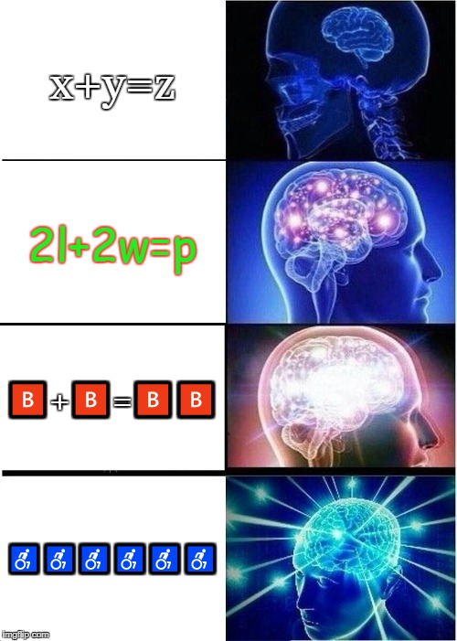 ♿♿♿♿♿♿♿♿♿♿ | x+y=z 2l+2w=p  | image tagged in memes,expanding brain | made w/ Imgflip meme maker