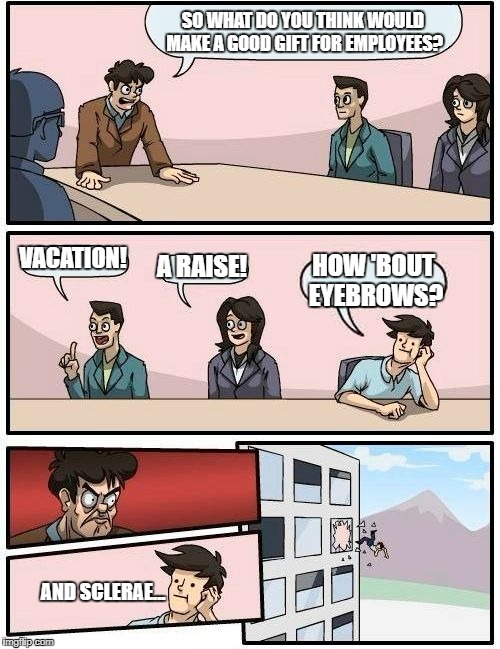 Has anyone else ever noticed how creepy that guy looks? | SO WHAT DO YOU THINK WOULD MAKE A GOOD GIFT FOR EMPLOYEES? VACATION! A RAISE! HOW 'BOUT EYEBROWS? AND SCLERAE... | image tagged in memes,boardroom meeting suggestion | made w/ Imgflip meme maker