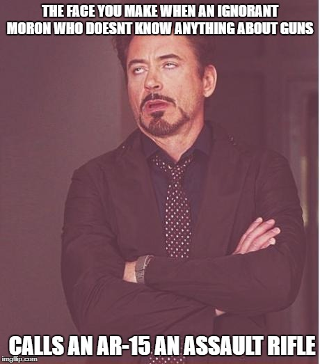 Face You Make Robert Downey Jr Meme | THE FACE YOU MAKE WHEN AN IGNORANT MORON WHO DOESNT KNOW ANYTHING ABOUT GUNS CALLS AN AR-15 AN ASSAULT RIFLE | image tagged in memes,face you make robert downey jr | made w/ Imgflip meme maker