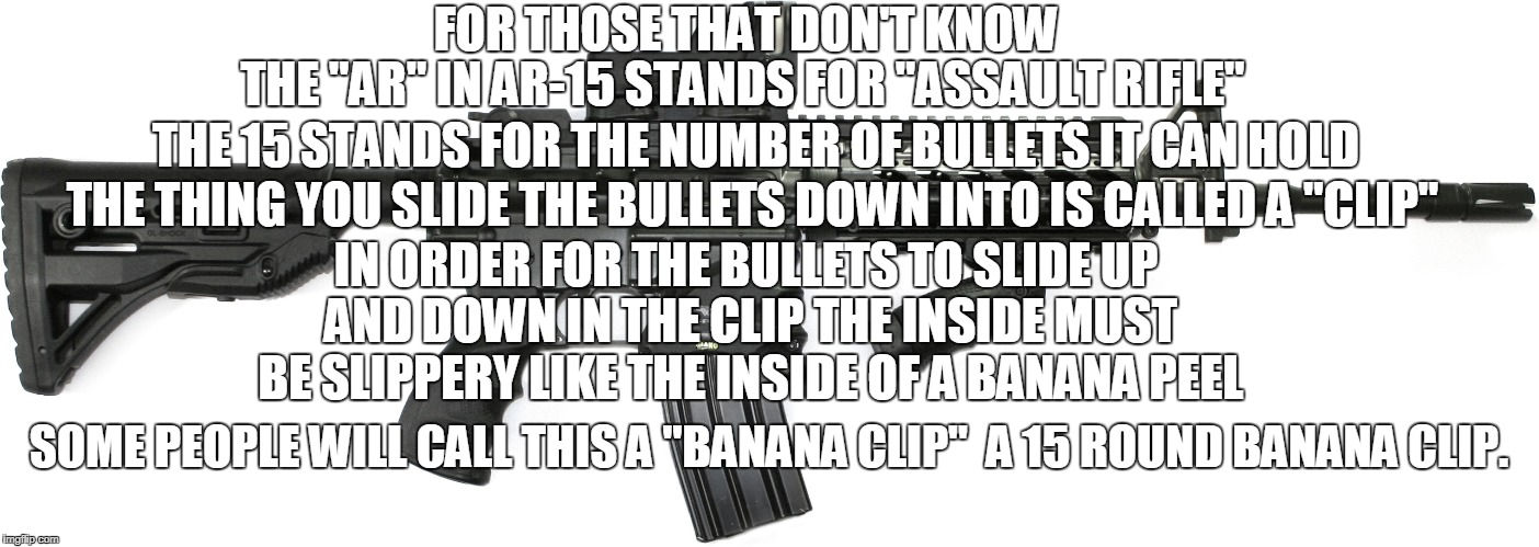 "FOR THOSE THAT DON'T KNOW THE ""AR"" IN AR-15 STANDS FOR ""ASSAULT RIFLE"" THE 15 STANDS FOR THE NUMBER OF BULLETS IT CAN HOLD THE THING YOU SLI 