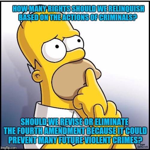 Trade Freedom for Safety? | HOW MANY RIGHTS SHOULD WE RELINQUISH BASED ON THE ACTIONS OF CRIMINALS? SHOULD WE REVISE OR ELIMINATE THE FOURTH AMENDMENT BECAUSE IT COULD  | image tagged in homer simpson,bill of rights | made w/ Imgflip meme maker