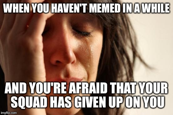 Sorry I was gone so long. I'm not dead, memelings! | WHEN YOU HAVEN'T MEMED IN A WHILE AND YOU'RE AFRAID THAT YOUR SQUAD HAS GIVEN UP ON YOU | image tagged in memes,first world problems | made w/ Imgflip meme maker