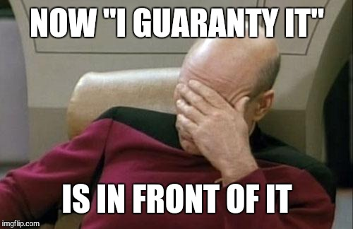 "Captain Picard Facepalm Meme | NOW ""I GUARANTY IT"" IS IN FRONT OF IT 