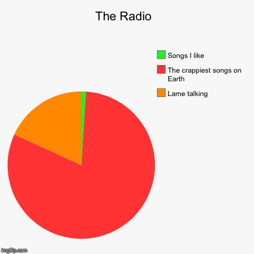 The Radio  | Lame talking , The crappiest songs on Earth , Songs I like | image tagged in funny,pie charts | made w/ Imgflip chart maker