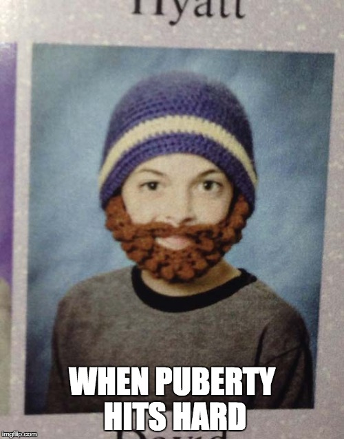 puberty picture |  WHEN PUBERTY HITS HARD | image tagged in yearbook picture beard,puberty,middle school,picture day,memes,funny memes | made w/ Imgflip meme maker