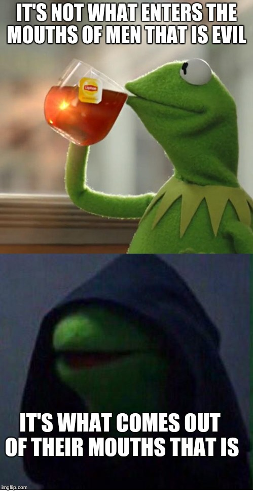 Alchemist Meme | IT'S NOT WHAT ENTERS THE MOUTHS OF MEN THAT IS EVIL IT'S WHAT COMES OUT OF THEIR MOUTHS THAT IS | image tagged in the alchemist,english class,kermit | made w/ Imgflip meme maker
