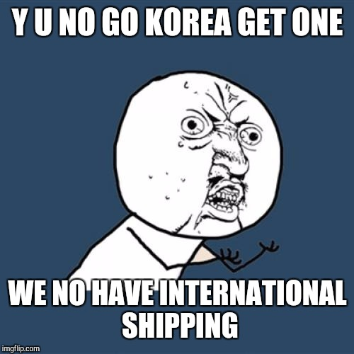 Y U No Meme | Y U NO GO KOREA GET ONE WE NO HAVE INTERNATIONAL SHIPPING | image tagged in memes,y u no | made w/ Imgflip meme maker