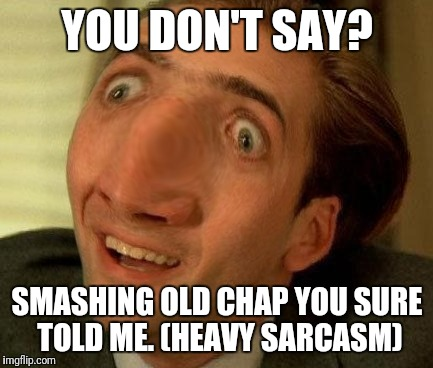 YOU DON'T SAY? SMASHING OLD CHAP YOU SURE TOLD ME. (HEAVY SARCASM) | made w/ Imgflip meme maker