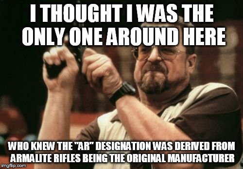 "Am I The Only One Around Here Meme | I THOUGHT I WAS THE ONLY ONE AROUND HERE WHO KNEW THE ""AR"" DESIGNATION WAS DERIVED FROM ARMALITE RIFLES BEING THE ORIGINAL MANUFACTURER 