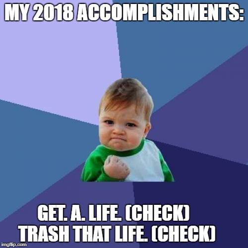 Success Kid Meme | MY 2018 ACCOMPLISHMENTS: GET. A. LIFE. (CHECK)          TRASH THAT LIFE. (CHECK) | image tagged in memes,success kid | made w/ Imgflip meme maker