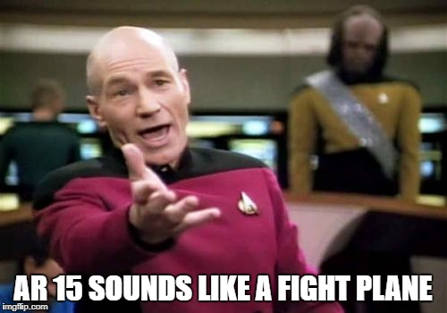 Picard Wtf Meme | AR 15 SOUNDS LIKE A FIGHT PLANE | image tagged in memes,picard wtf | made w/ Imgflip meme maker