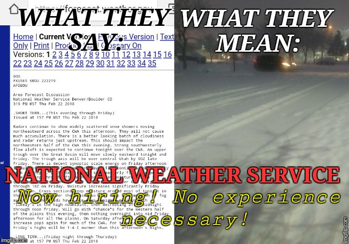 Didn't nail it | WHAT THEY SAY: WHAT THEY MEAN: NATIONAL WEATHER SERVICE Now hiring! No experience necessary! | image tagged in snow,national weather service,justjeff,forecast,idiots | made w/ Imgflip meme maker
