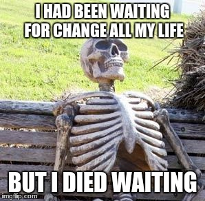 Waiting for change | BUT I DIED WAITING | image tagged in voter,politics | made w/ Imgflip meme maker