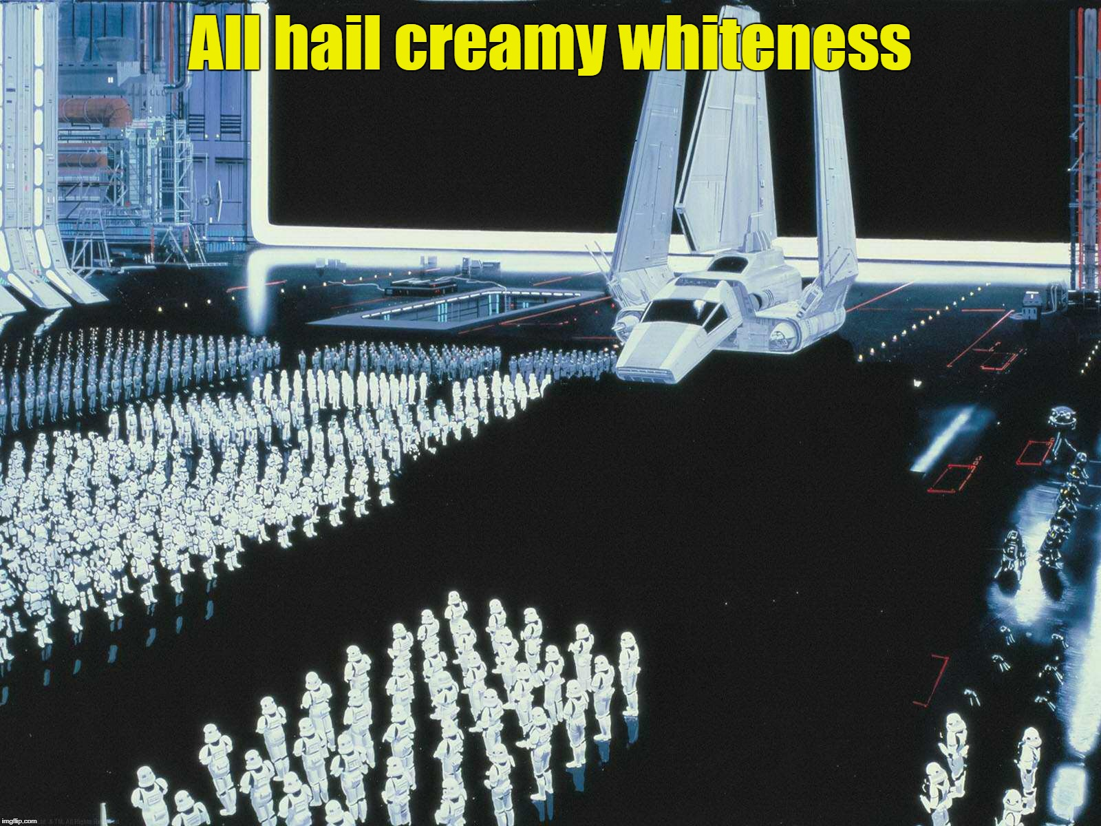 All hail creamy whiteness | All hail creamy whiteness | image tagged in star wars,the empire,shock troops | made w/ Imgflip meme maker