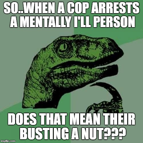 Philosoraptor | SO..WHEN A COP ARRESTS A MENTALLY I'LL PERSON DOES THAT MEAN THEIR BUSTING A NUT??? | image tagged in memes,philosoraptor | made w/ Imgflip meme maker