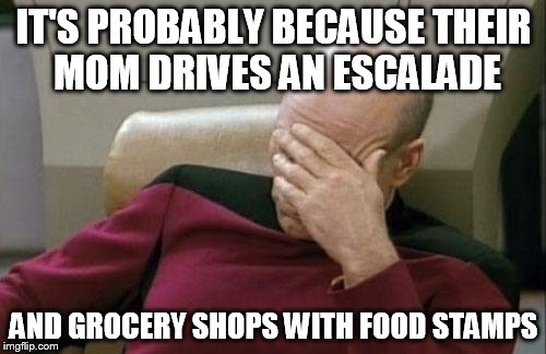Captain Picard Facepalm Meme | IT'S PROBABLY BECAUSE THEIR MOM DRIVES AN ESCALADE AND GROCERY SHOPS WITH FOOD STAMPS | image tagged in memes,captain picard facepalm | made w/ Imgflip meme maker