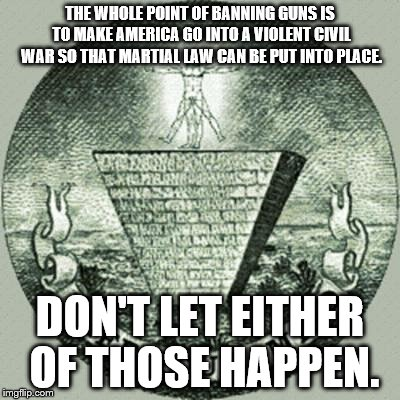 Anti illuminati  | THE WHOLE POINT OF BANNING GUNS IS TO MAKE AMERICA GO INTO A VIOLENT CIVIL WAR SO THAT MARTIAL LAW CAN BE PUT INTO PLACE. DON'T LET EITHER O | image tagged in anti illuminati | made w/ Imgflip meme maker