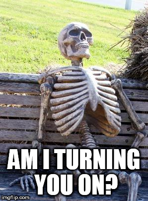 Waiting Skeleton Meme | AM I TURNING YOU ON? | image tagged in memes,waiting skeleton | made w/ Imgflip meme maker