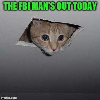 He sees while your sleeping, he's knows when you're awake, he's knows when you are bad or good, so be good or you will die | THE FBI MAN'S OUT TODAY | image tagged in memes,ceiling cat,fbi | made w/ Imgflip meme maker