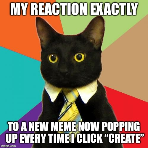 "Business Cat | MY REACTION EXACTLY TO A NEW MEME NOW POPPING UP EVERY TIME I CLICK ""CREATE"" 