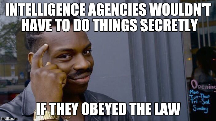 Roll Safe Think About It Meme | INTELLIGENCE AGENCIES WOULDN'T HAVE TO DO THINGS SECRETLY IF THEY OBEYED THE LAW | image tagged in memes,roll safe think about it | made w/ Imgflip meme maker