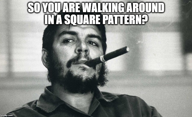 Che | SO YOU ARE WALKING AROUND IN A SQUARE PATTERN? | image tagged in che | made w/ Imgflip meme maker