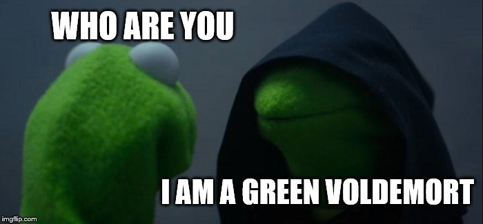 Evil Kermit Meme | WHO ARE YOU I AM A GREEN VOLDEMORT | image tagged in memes,evil kermit | made w/ Imgflip meme maker