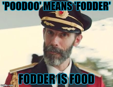 'POODOO' MEANS 'FODDER' FODDER IS FOOD | made w/ Imgflip meme maker