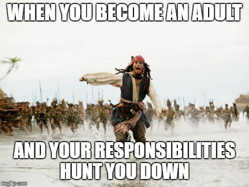 Jack Sparrow Being Chased Meme | WHEN YOU BECOME AN ADULT AND YOUR RESPONSIBILITIES HUNT YOU DOWN | image tagged in memes,jack sparrow being chased,responsibility,truth,funny,lol | made w/ Imgflip meme maker