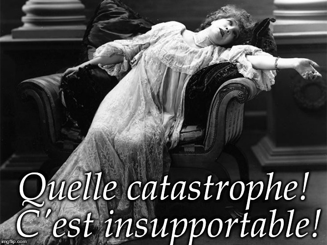 Vintage fainting woman | Quelle catastrophe! C'est insupportable! | image tagged in vintage fainting woman,catastrophe,unbearable,quelle catastrophe c'est insupportable | made w/ Imgflip meme maker
