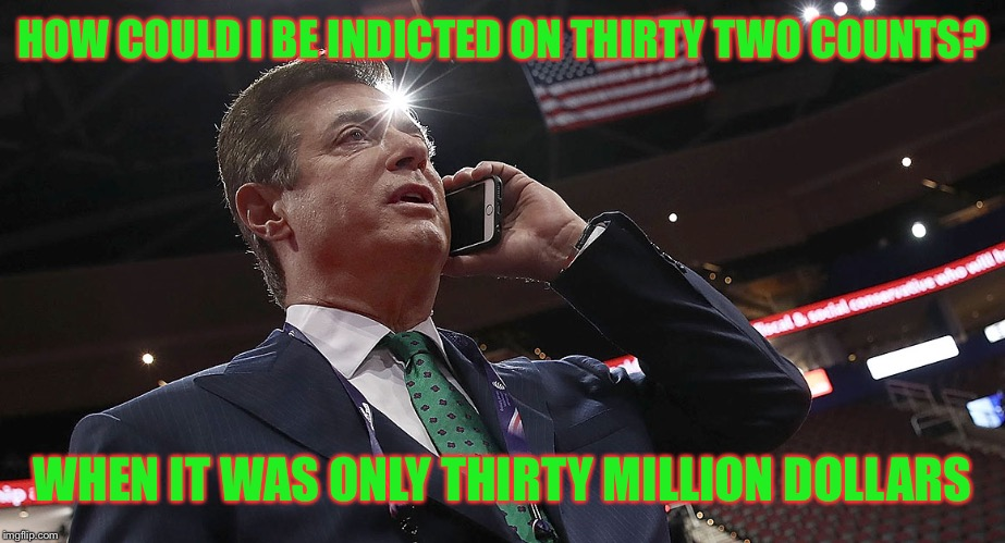Paul Manafort | HOW COULD I BE INDICTED ON THIRTY TWO COUNTS? WHEN IT WAS ONLY THIRTY MILLION DOLLARS | image tagged in manafort,memes,funny,political meme,paul manafort | made w/ Imgflip meme maker