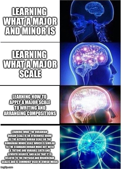 Expanding Brain Meme | LEARNING WHAT A MAJOR AND MINOR IS LEARNING WHAT A MAJOR SCALE LEARNING HOW TO APPLY A MAJOR SCALE TO WRITING AND ARRANGING COMPOSITIONS LEA | image tagged in memes,expanding brain | made w/ Imgflip meme maker