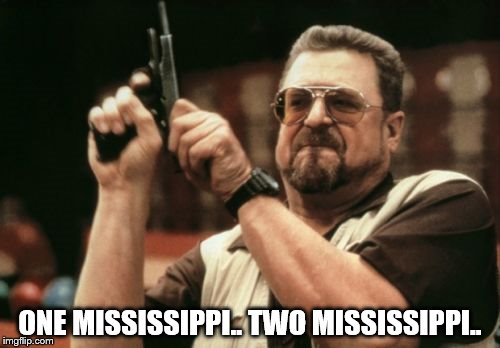 Patience, patience | ONE MISSISSIPPI.. TWO MISSISSIPPI.. | image tagged in memes,am i the only one around here | made w/ Imgflip meme maker