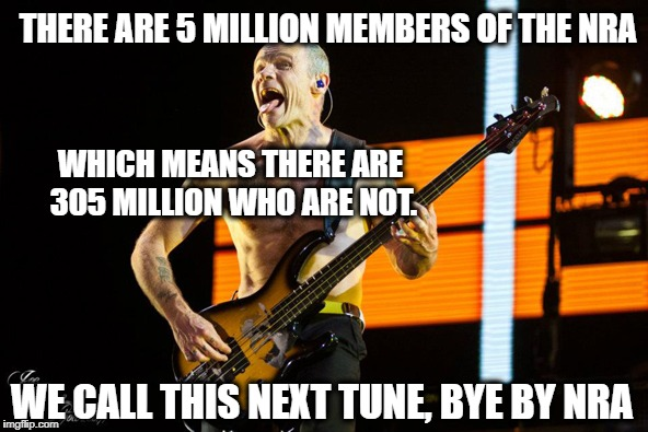 Flea says bye bye | THERE ARE 5 MILLION MEMBERS OF THE NRA WE CALL THIS NEXT TUNE, BYE BY NRA WHICH MEANS THERE ARE 305 MILLION WHO ARE NOT. | image tagged in gun control,guns,college conservative | made w/ Imgflip meme maker