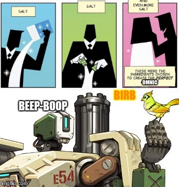 how bastion was originally created | BEEP-BOOP OMNIC BIRB | image tagged in overwatch memes,bastion,overwatch,salty | made w/ Imgflip meme maker