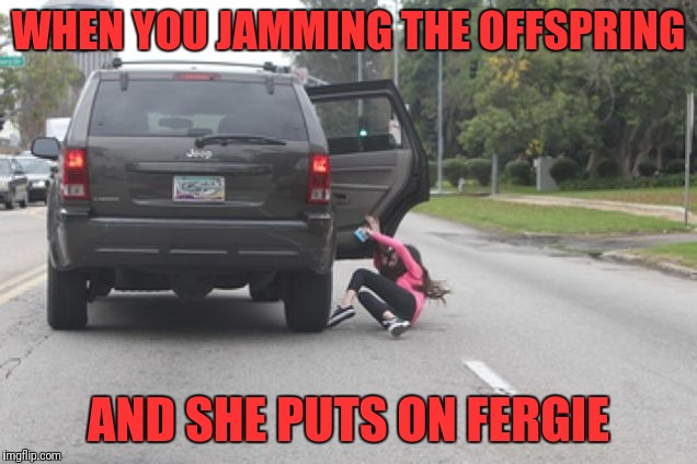 Kicked Out of Car | WHEN YOU JAMMING THE OFFSPRING AND SHE PUTS ON FERGIE | image tagged in kicked out of car | made w/ Imgflip meme maker