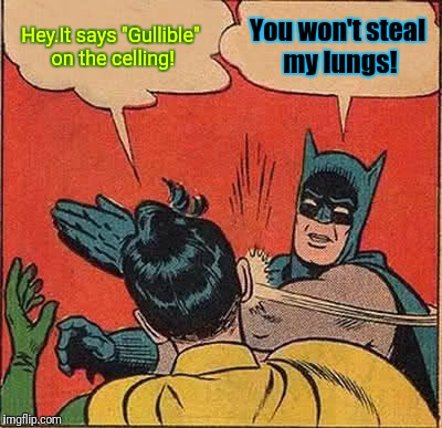 "ASDFMovie reference! ^_^ | Hey.It says ""Gullible"" on the celling! You won't steal my lungs! 