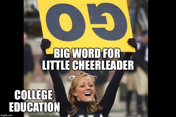 You're doing it wrong! | BIG WORD FOR LITTLE CHEERLEADER COLLEGE EDUCATION | image tagged in memes,cheerleader,upsidedown,sign,college,you're doing it wrong | made w/ Imgflip meme maker
