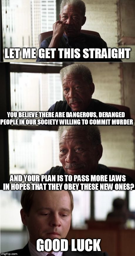 Freeman earns another freckle. | LET ME GET THIS STRAIGHT YOU BELIEVE THERE ARE DANGEROUS, DERANGED PEOPLE IN OUR SOCIETY WILLING TO COMMIT MURDER AND YOUR PLAN IS TO PASS M | image tagged in memes,morgan freeman good luck,gun control | made w/ Imgflip meme maker