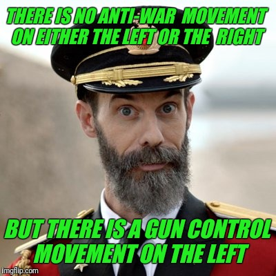 "My unbiased Canadian observation on war and gun control. I would add the tag ""anti-war"" if I could. 